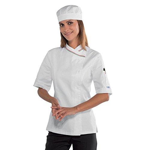 Isacco Lady Snaps Jacket Isacco Bianco+Italia - White + Italy - XL - 100% Baumwolle - Halbarm Xl Workwear-snap