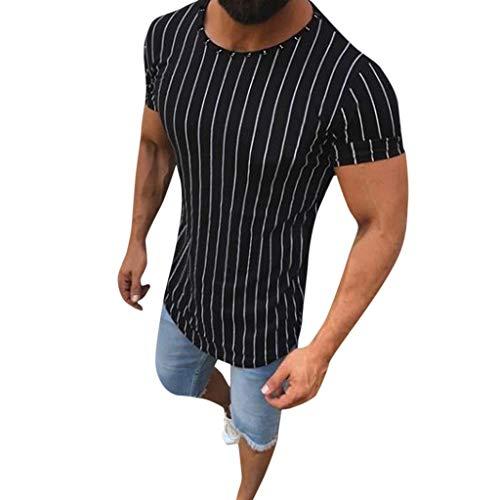 CICIYONER Herren Hemd Männer Sommer Muscle Striped Print Kurzarm Oansatz T-Shirt Tops Blusen Schwarz weiß grau M L XL XXL XXXL