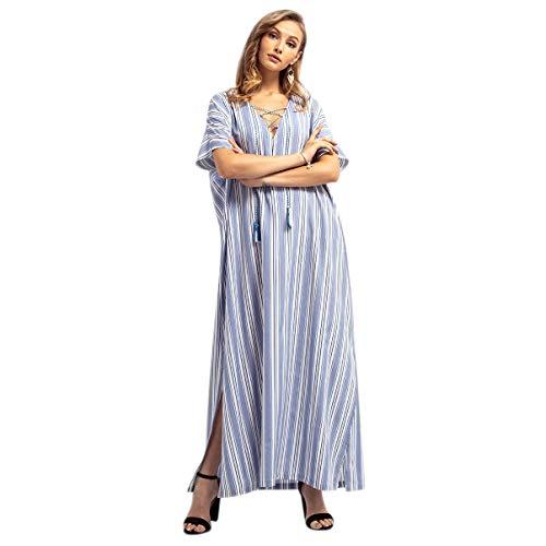 XZANTE Talla Extra Grande Túnicas árabes Musulmanas Para Mujer Vestido Largo A Rayas Ropa De Ramadan De Medio Oriente Vestido Dividido De Manga Corta M