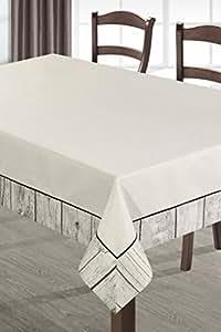 140x180 beige schwarz Holzoptik Tischdecke Tischtuch praktisch pflegeleicht Leinoptik Lein Optik Scandi