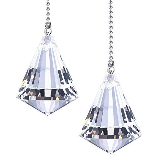 2 Sets Klar Cone Crystal Pull Kette Verlängerung mit Stecker für Deckenleuchte Fan Kette, 1 Meter Lang Jede Kette