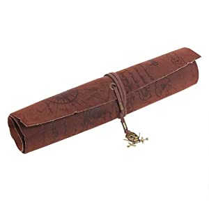 TOOGOO(R) Sostenedor caja de lapiz de cuero PU enrollado patron del mapa del tesoro del pirata retro (Craneo)