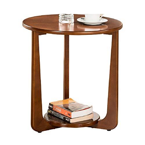 ZHIRONG Runder Holz Beistelltisch Wohnzimmer Sofa Beistelltisch mit Ablageboden Mehrzweck-Nachttisch Tisch , 19,6''x21.1 ''