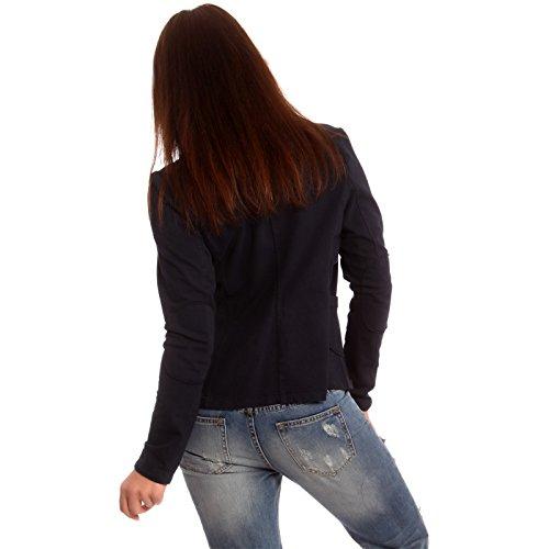 Veste courte en coton vintage Sweat Blazer Blazer pour femme Bleu - Bleu foncé