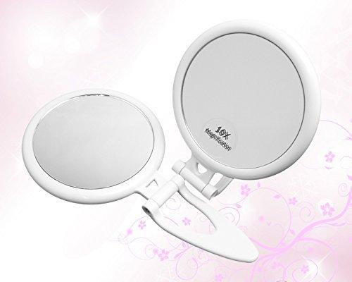 Qt faltbar Handheld 10x Vergrößerungsglas Travel Spiegel-10x und 1x Vergrößerung, zwei-seitige Spiegel, hat einen praktischen Griff Sowie die Möglichkeit der aufrecht sitzen auf einer flachen Oberfläche, äußerst Langlebig und kompakt macht es perfekt für Reisen -