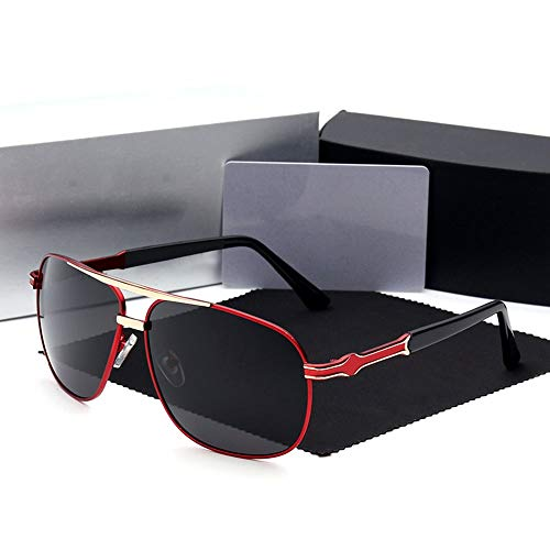 Honneury Herrenmode Casual Large Frame Polarized Sonnenbrillen, Mercedes-Benz Sonnenbrillen (Farbe : Red)