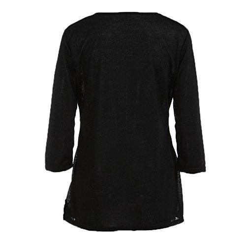 Topgrowth Donna Casual Camicia Autunno Maglietta Felpa Oversize Camicetta Maglia Maniche Lunghe T Shirt Pulsante Tagliare Tinta Unita Top a Tunica S-6XL Nero