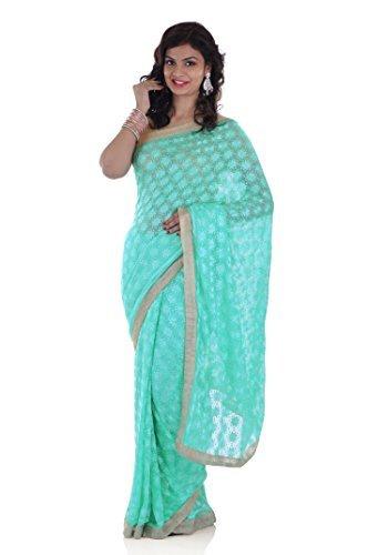 Ethnic Bliss Lifestyles Chiffon Saree (Eblsgphksr-01_Sea Green)