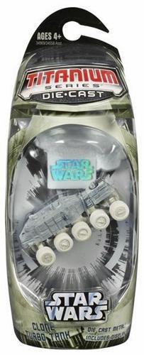 CLONE TURBO TANK (WHITE) Star Wars 3 INCH Titanium Series Die Cast Vehicle and Display Stand