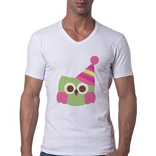Owl Bird Night Midnighter Hat Pink Herren V-Neck T-Shirt Weiß