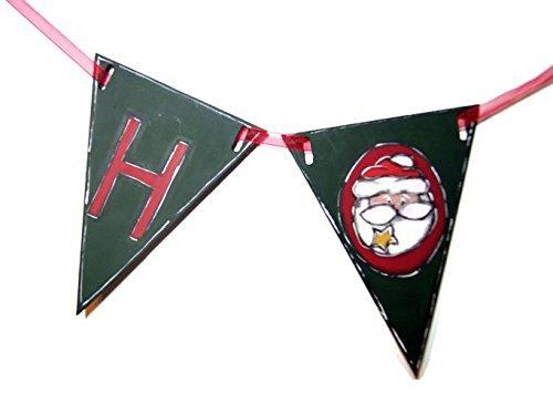 Guirlande de Noël avec père Noël, bonhomme de neige et renne - Guirlande avec petits drapeaux et dessins de Noël - Guirlande