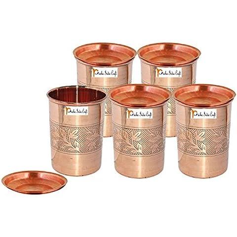 Set di 5 - Prisha India Craft ® cilindretto di rame con coperchio volume 300 ml / 8.4535 OZ I viaggiatori tazza di rame I set di bicchieri di rame , Drinkware set di vetreria - Regalo di natale - Bicchiere Viaggiatore