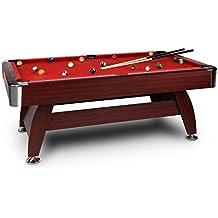 oneConcept Brighton Black mesa de billar (juego de accesorios completo, sistema de devolución bolas, altura regulable,chapa de acero, madera de cerezo, tapiz) - rojo
