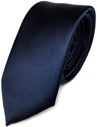 Schmale TigerTie Satin Krawatte blau marine dunkelblau uni Polyester