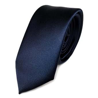 TigerTie étroit satin cravate bleu marine bleu foncé unicolor ... 8729638a031