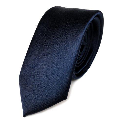 TigerTie Schmale Satin Krawatte blau marine dunkelblau uni Polyester