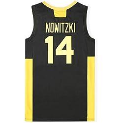 # 14 Dirk Nowitzki Tiro Camiseta de la NBA Deutschland The Película Documental Versión al Aire Libre de Baloncesto Athletic Apparel (Color : Negro, Size : S)