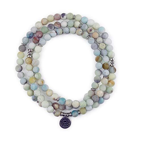 Exquiments Chakra Yoga 108 Perlen Mala Armband Lotus Halskette Buddha Lebensbaum Edelstein