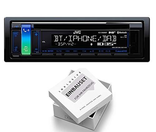 JVC KD-DB98BT 1DIN Radio Bluetooth DAB + Antenne mit Einbauset für Jeep Cherokee/Liberty (KJ) 2001-2008