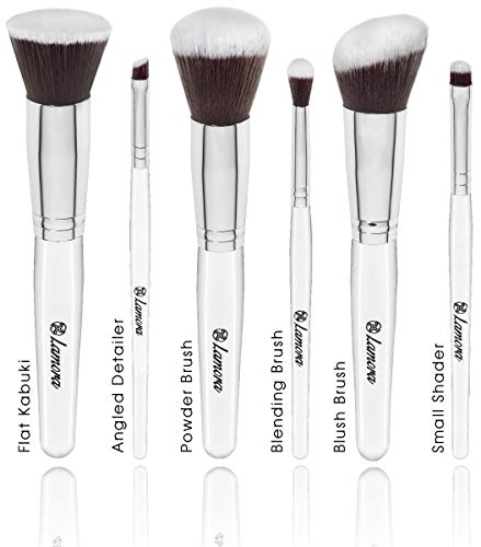 Powder Blush Foundation Kabuki Eyeshadow Brush Set - 6 Piece Essential Makeup Brushes Kit - Top Choice Premium Quality Synthetic Bristles - Apply Your Flawless Airbrushed Finish