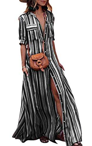 ECOWISH Damen Kleid Boho Gestreift Bunt Sommerkleid Lose Casual Taschen Kragen Button Down Blusenkleid Halber Ärmel Langes Maxikleid Schwarz XXL - Lange Ärmel, Eine Tasche