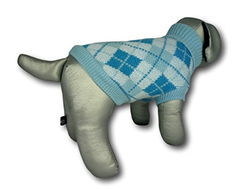 Cara Mia Dogwear Light Blue Argyle Knitted Dog Jumper Sweater (teacup to small breed dogs) 2