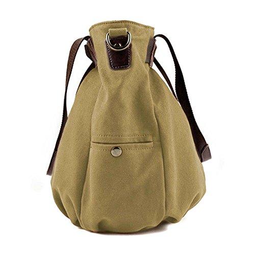 BMC da donna doppia di tela maniglia superiore shopping borsa a tracolla Khaki Gray