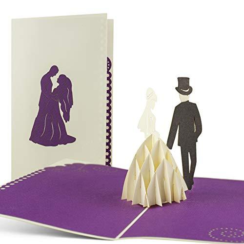 Karte zur Hochzeit, Hochzeitskarte, Weiß und Lila, Glückwunschkarte Hochzeit, Karten zur Hochzeit, Mitbringsel, Geschenk, edles Gastgeschenk zur Hochzeit, Einladungskarten elegant, L08