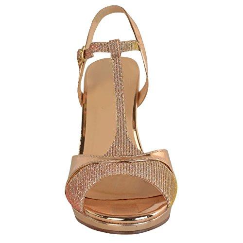 heelberry Donna Scarpe Eleganti da Cerimonia da Donna Medio Tacchi Alti Sposa luccicante Sandali Taglia Nuovo rosa dorato metallizzato