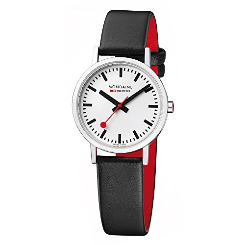 Mondaine Official Swiss Railways Watch Classic Women's/ Men's Watch, Analogue Quartz with Black Leather Strap
