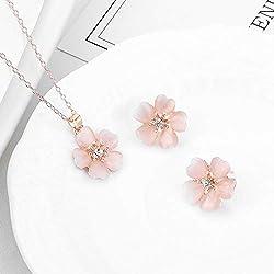 LBZDR Collier Ensemble de Boucles d'oreilles à Fleurs de Prunier Bijoux en Deux pièces avec Pendentif Fleur de Cerisier
