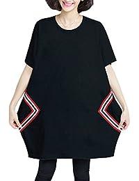 ELLAZHU Femme Été Mi-Longue Grande Taille Décontracté T-Shirts GA652