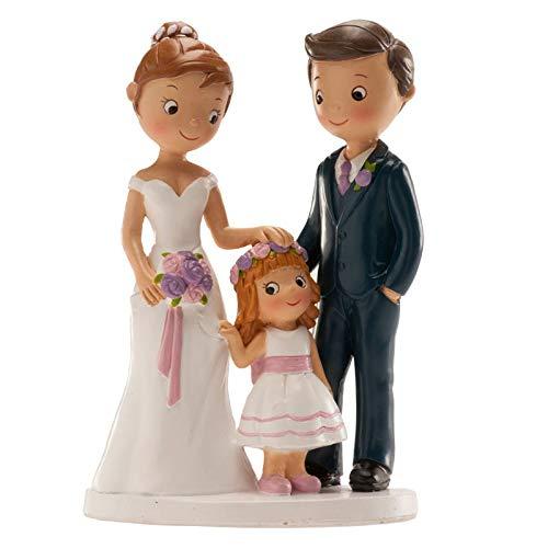 Figura grabada personalizada con los nombres de los novios y la fecha de la boda, con su hija.