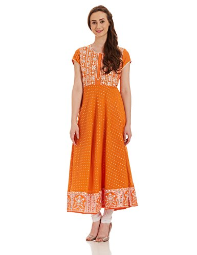 BIBA Women's Anarkali Kurta (MUD ART 12373_orange_xx-large)