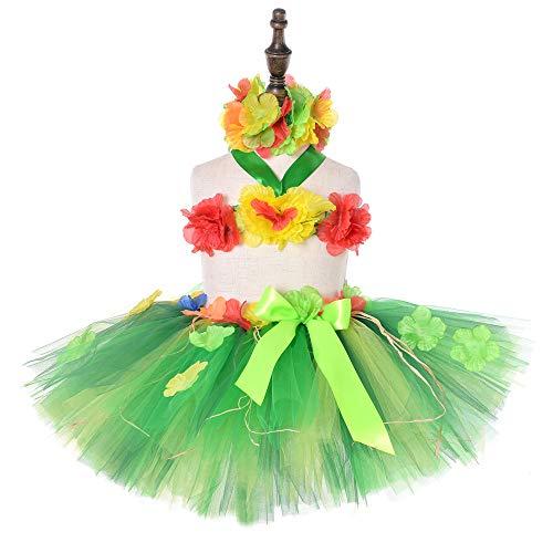 KEFAN Hula Röcke Set für Baby Mädchen Hawaii Hula Party Kleid Sommer Strand Thema Party Kostüm - Grüne Themen Kostüm