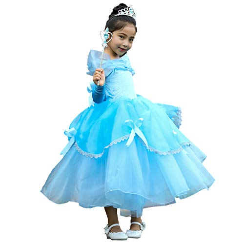IWEMEK Mädchen Cosplay Kleid Die Schöne und das Biest Prinzessin Kostüm Kinder Off Schulter Karneval Bell Partykleid Märchen Geburtstag Halloween Faschingskostüm Festkleid Fancy Dress Up Blau 10-11 (Disney Belle Kostüm, Blau, Kleid)