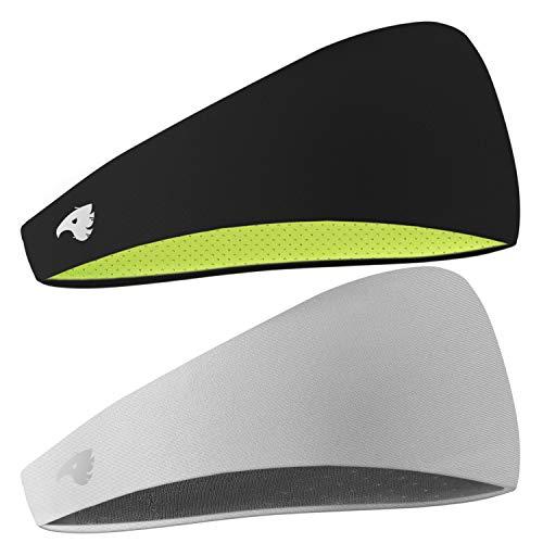 COOLOO Stirnband Sport für Damen Herren, 2 Pack Headband Schweißband für Yoga, Radfahren, Laufen, Fitness, Fahrrad Volleyball Running Rennen Fußball Anti