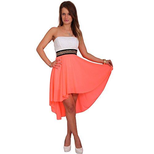 Chiffon Kleid Vokuhila Bandau Spitze Strass Cocktailkleid Partykleid Zweifarbig (34/36/38=XS/S/M,...