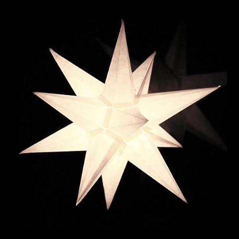 1 Papierstern beleuchtet, weiß, 3d Weihnachtsstern fürs Fenster - Bockelwitzer Stern (Art.Nr.201) inkl. Netzteil mit 3-fach-Verteiler, Fenster-Clip, Durchmesser 19 cm, Papier, weiss, komplett handgefertigt, für den Innenbereich
