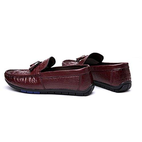 Nuove Scarpe Da Piselli Maschile Comodo Modello Di Coccodrillo Scarpe Da Corsa Cuoio Scarpe Casual Red