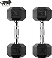GSM Fitness Hex Dumbbell, 5 kgs, Pack of 2, Rubber Coated