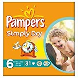 Pampers Simply Dry Size 6 (16+kg) Extra Large x 31 per pack