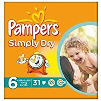 Pampers Simply Dry Size 6 (16 + kg) Extra Large x 31 per pack by Pampers