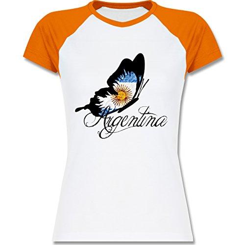 Länder - Argentina Schmetterling - zweifarbiges Baseballshirt / Raglan T-Shirt für Damen Weiß/Orange