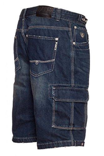 UNCS Cargo Jeans Shorts in mittelblau und dunkelblau, M-5XL Dark Denim