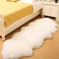 Bedee Faux Sheepskin Rugs (60x160cm) Faux Fleece Chair Cover Seat Pad Soft Fluffy Shaggy Area Rugs For Bedroom Sofa Floor