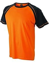 JAMES & NICHOLSON - t-shirt bicolore manches contrastées - col rond - JN010 - homme