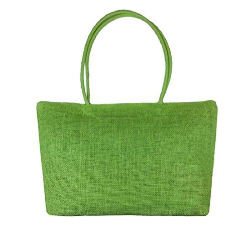 Vovotrade® Le donne di colore della caramella borsa da spiaggia a tracolla grande paglia (Bianco) Verde