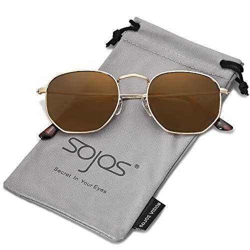 SOJOS Clásico Polígono Espejo Lentes UV Portección Unisex Gafas de Sol Polarizado SJ1072 Marco Dorado/Lente Dorado