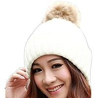 Malloom Las mujeres invierno piel bola Pom Poms caliente sombrero de  ganchillo gorro de lana de a26e665b5cc